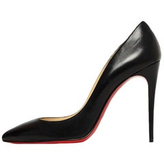 Christian Louboutin Black Leather Pointed Toe Pumps sz 39