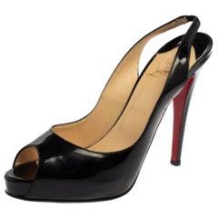 Christian Louboutin Black Leather Private Peep Toe Sling Back Pump Size 39.5