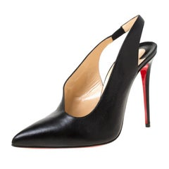 Christian Louboutin Black Leather Rivafish Pointed Toe Slingback Sandals Size 40