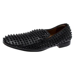 Christian Louboutin Black Leather Rollerboy Spiked Loafers Size 43.5