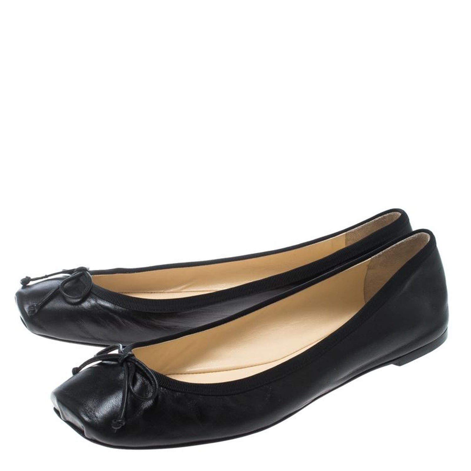 4afe9936d3c Christian Louboutin Black Leather Rosella Square Toe Ballet Flats Size 40  at 1stdibs