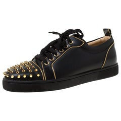 Christian Louboutin Black Leather Rush Spike Lace Up Sneakers Size 40