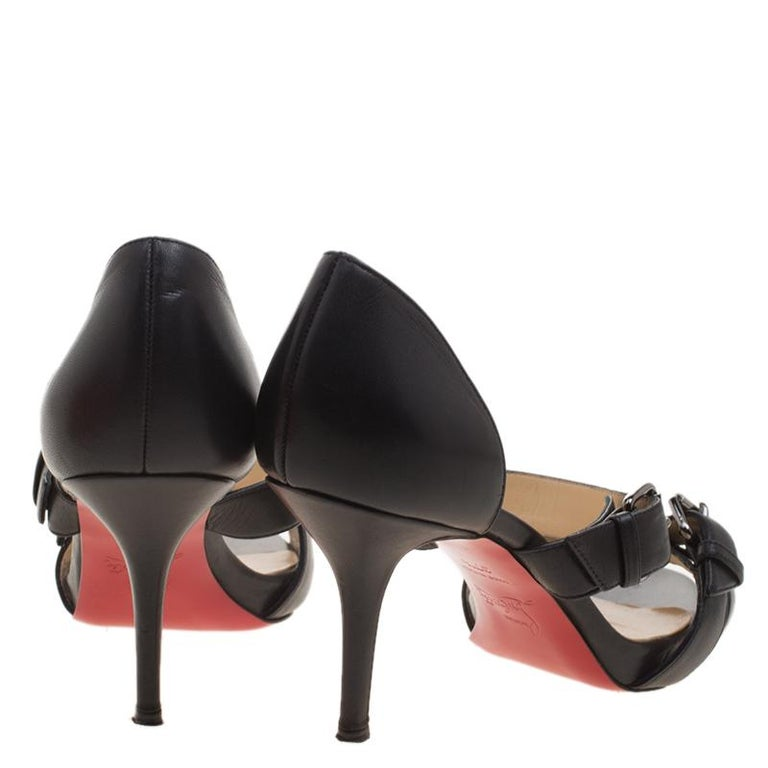 7718be88dcb22 Christian Louboutin Black Leather Sandals Size 37.5 For Sale at 1stdibs