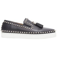 CHRISTIAN LOUBOUTIN black leather silver spike stud tassel skate sneaker EU41.5