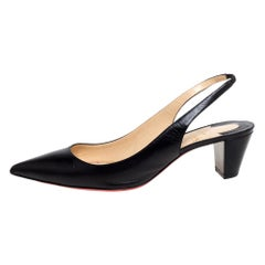 Christian Louboutin Black Leather Slingback Sandals Size 40