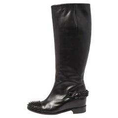 Christian Louboutin Black Leather Spike Cap Toe Egoutina Knee Boots Size 37