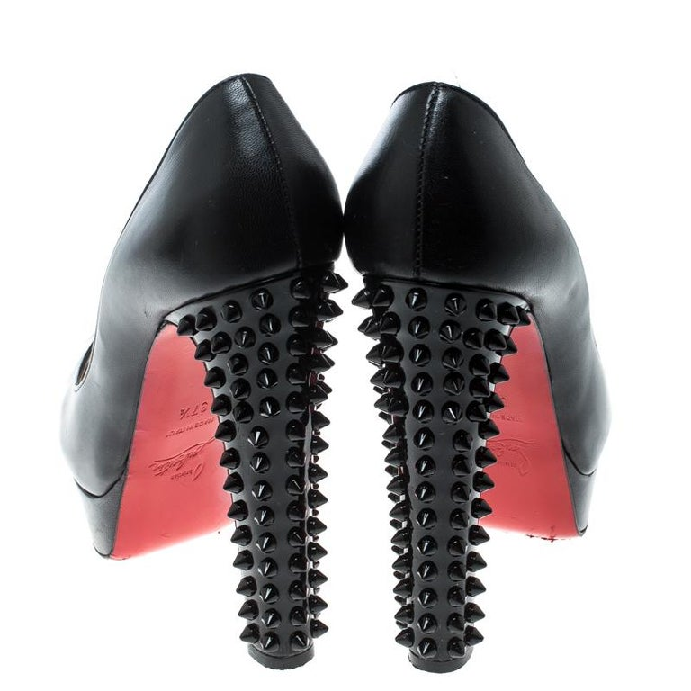 Christian Louboutin Black Leather Spike Embellished Heel Peep Toe Platform Pumps In Good Condition For Sale In Dubai, AE