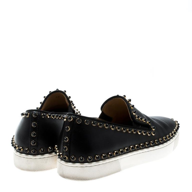 28957d7d1112 Christian Louboutin Black Leather Spike Pik Boat Slip On Sneakers Size 36  In Good Condition For