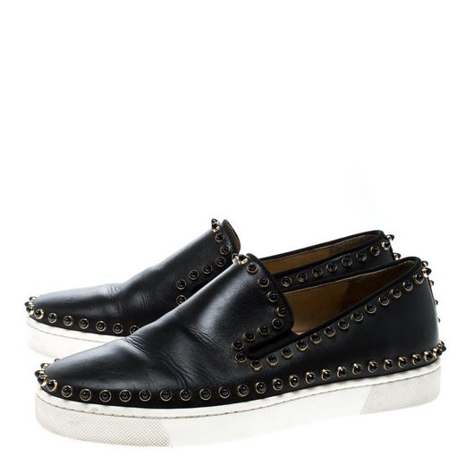 a2dc8b6c6bb9 Christian Louboutin Black Leather Spike Pik Boat Slip On Sneakers Size 36  For Sale at 1stdibs