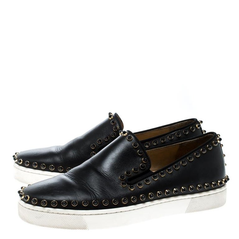 4f7b475e0afd Christian Louboutin Black Leather Spike Pik Boat Slip On Sneakers Size 36  For Sale 2