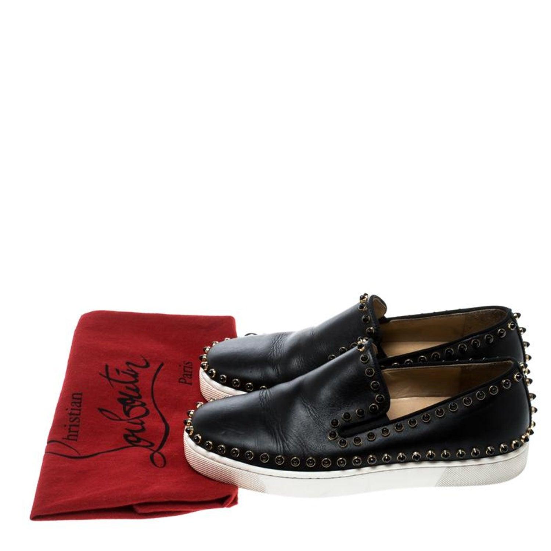 6bdaafcfa00 Christian Louboutin Black Leather Spike Pik Boat Slip On Sneakers Size 36