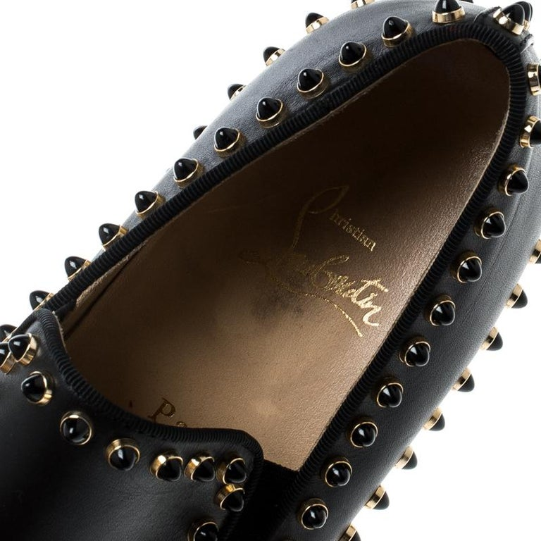 cf7f95ffa06e Christian Louboutin Black Leather Spike Pik Boat Slip On Sneakers Size 36  For Sale 4