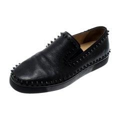Christian Louboutin Black Leather Spike Pik Boat Slip On Sneakers Size 42.5