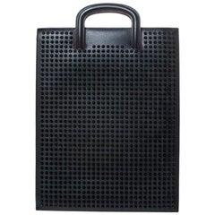 Christian Louboutin Black Leather Spike Trictrac Portfolio Bag