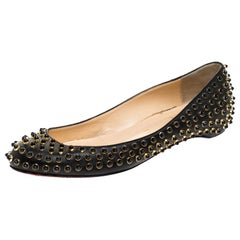 Christian Louboutin Black Leather Studded Ballet Flats Size 38.5