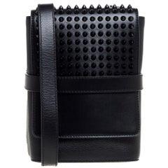 Christian Louboutin Black Leather Studded Benech Reporter Crossbody Bag