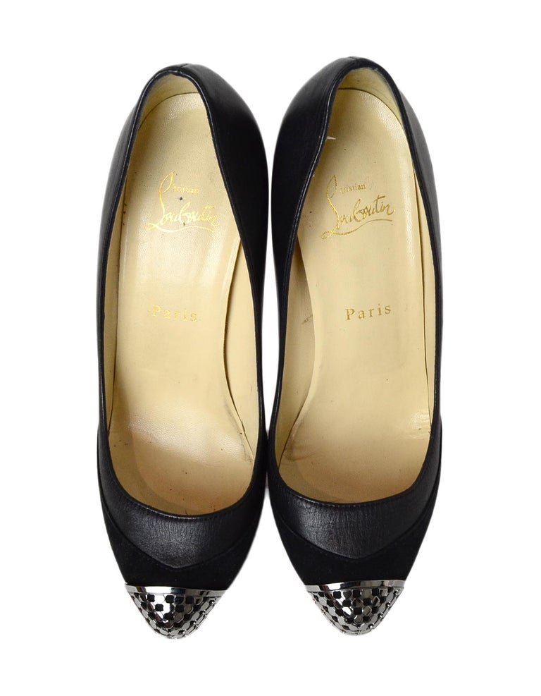 Christian Louboutin Black Leather/Suede Maggie 160 Pump VIP Chain Sz 38.5 For Sale 1
