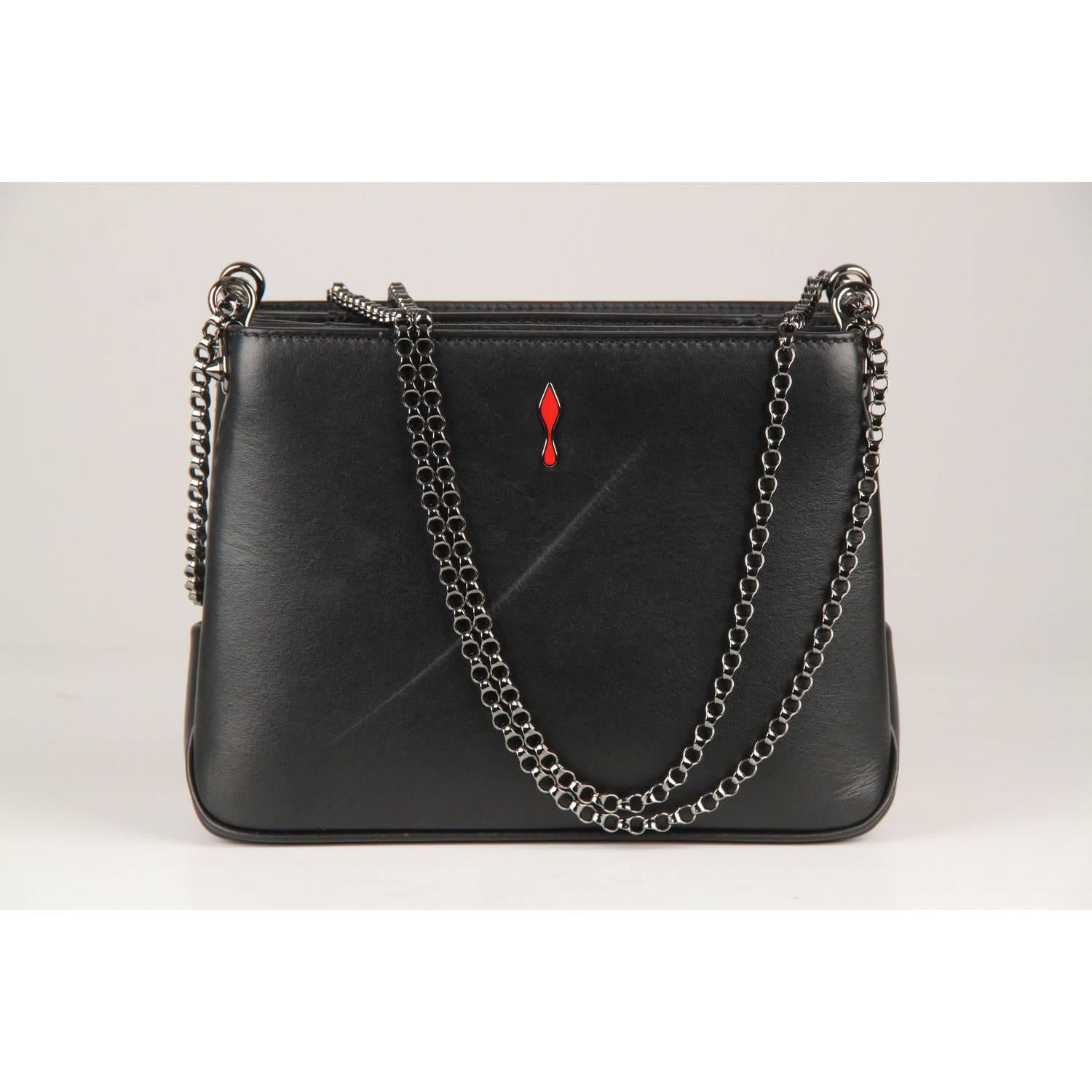 f9b19617cecc CHRISTIAN LOUBOUTIN Black Leather Triloubi Small Studded Shoulder Bag For  Sale at 1stdibs