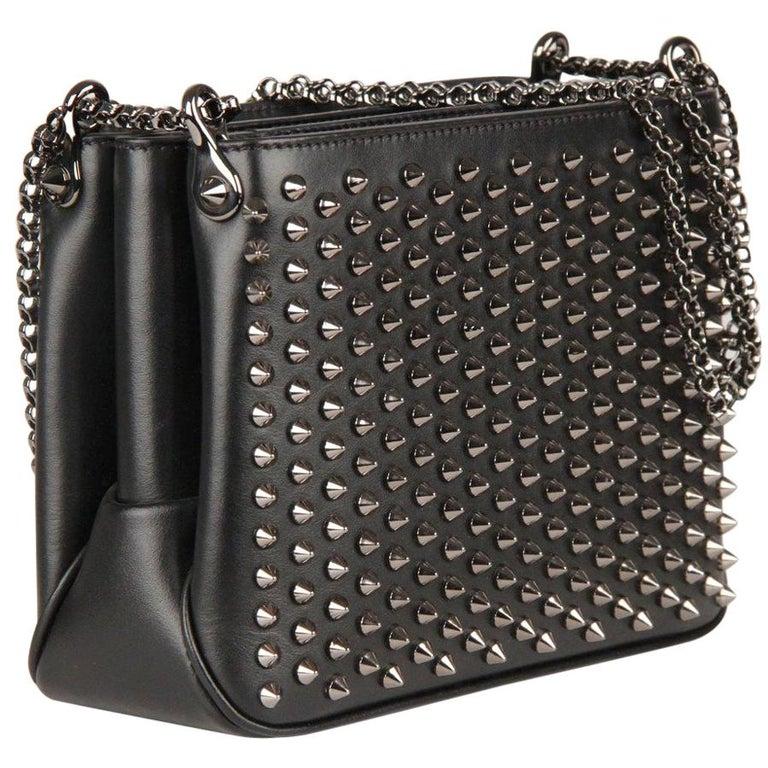 1cf03626d97 Christian Louboutin Black Leather Triloubi Small Studded Shoulder Bag