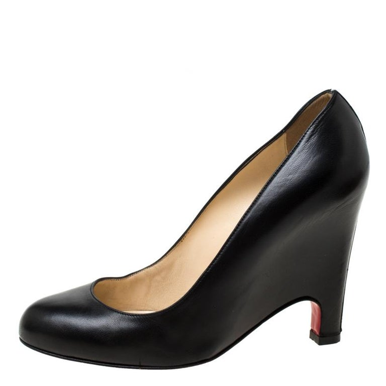 Christian Louboutin Black Leather Wedge Pumps Size 38 For Sale 1