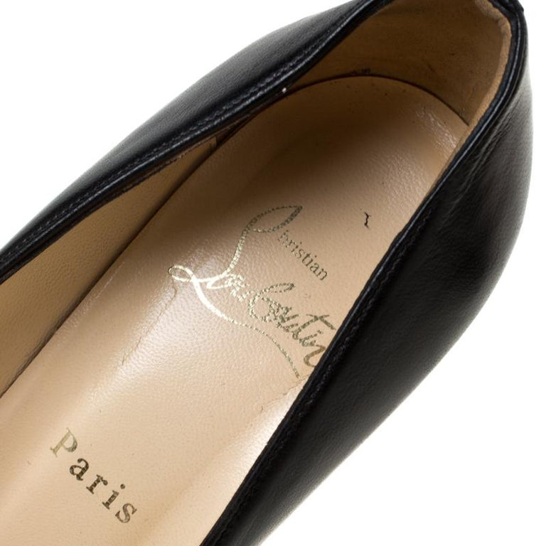 Christian Louboutin Black Leather Wedge Pumps Size 38 For Sale 2