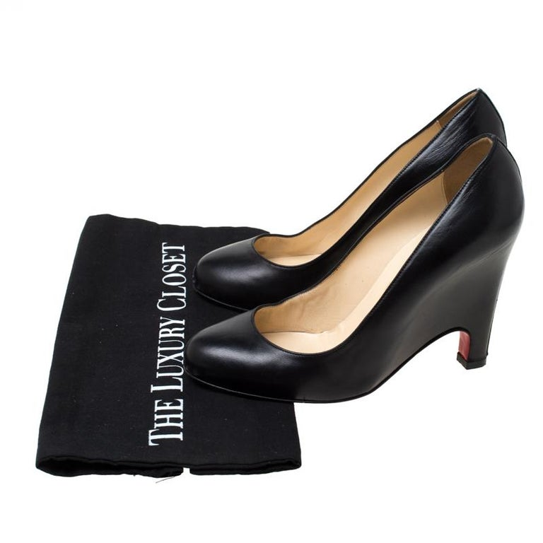 Christian Louboutin Black Leather Wedge Pumps Size 38 For Sale 4
