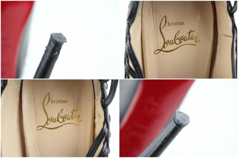 Christian Louboutin Black Leather Zoulou Strappy Platform 9617clt6 Pumps In Fair Condition For Sale In Forest Hills, NY