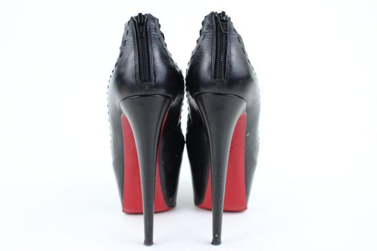 Christian Louboutin Black Leather Zoulou Strappy Platform 9617clt6 Pumps For Sale 2