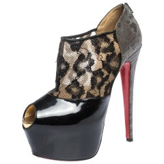 Christian Louboutin Black Leopard Print Lame Fabric and Patent Leather Size 38