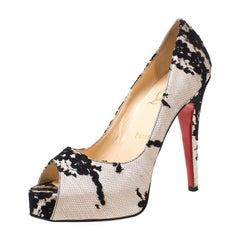 Christian Louboutin Black/Light Pink Lace Very Prive Peep Toe Pumps Size 38