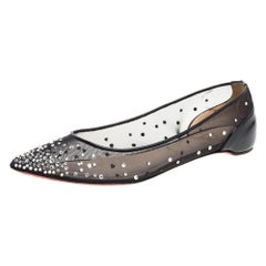 Christian Louboutin Black Mesh And Patent Leather Strass  Ballet Flats Size 39
