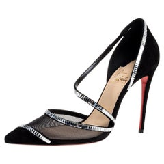 Christian Louboutin Black Mesh And Suede Chiara Crystal Embellished Pumps Size 3