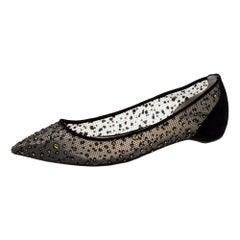 Christian Louboutin Black Mesh And Suede Follies Strass Ballet Flats Size 36