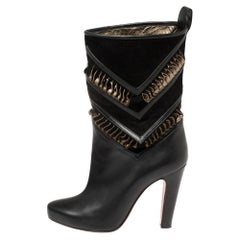 Christian Louboutin Black/Metallic Bronze Suede And Leather Romy Midcalf Boots S