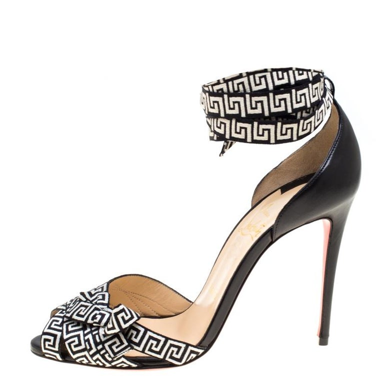 Women's Christian Louboutin Black/Monochrome Leather and Fabric Christeriva Ankle Wrap For Sale