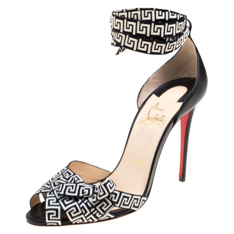 Christian Louboutin Black/Monochrome Leather and Fabric Christeriva Ankle Wrap For Sale
