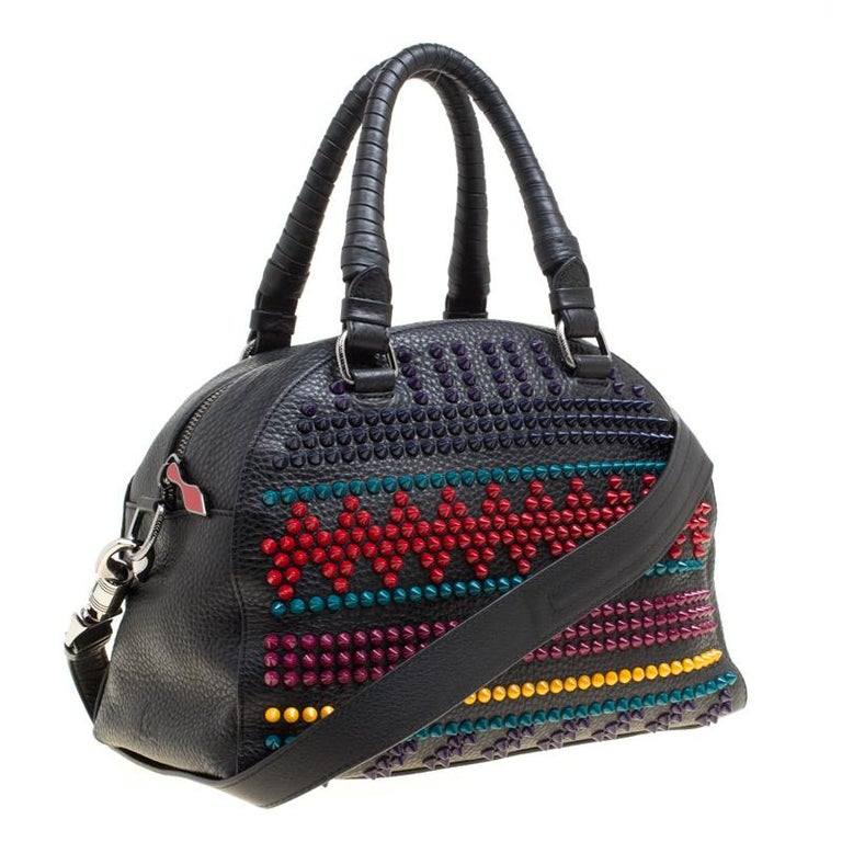 30c47cd2b82 Christian Louboutin Black/Multicolor Leather Spike Studded Bowler Bag
