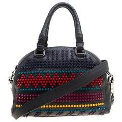 Christian Louboutin Black/Multicolor Leather Spike Studded Bowler Bag