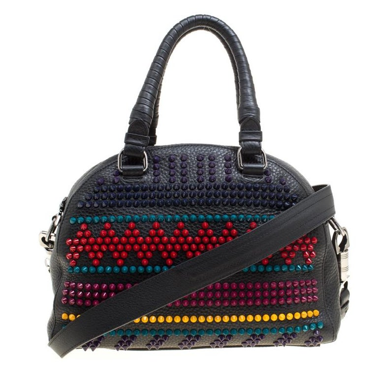 Christian Louboutin Black Multicolor Leather Spike Studded Bowler Bag