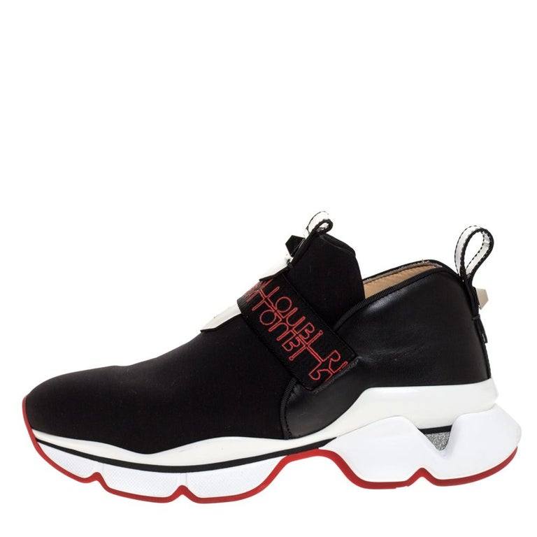 Christian Louboutin Black Neoprene And Leather Lipsy Run Sneakers Size 38 For Sale 1