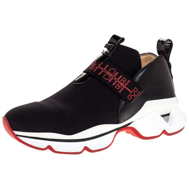Christian Louboutin Black Neoprene And Leather Lipsy Run Sneakers Size 38 For Sale