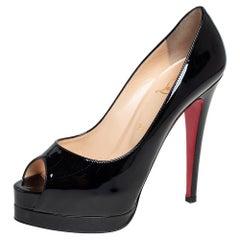 Christian Louboutin Black Patent Altadama Platform Peep Toe Pumps Size 37.5