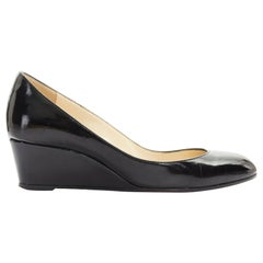 CHRISTIAN LOUBOUTIN black patent leather almond toe kitten wedge heel EU36