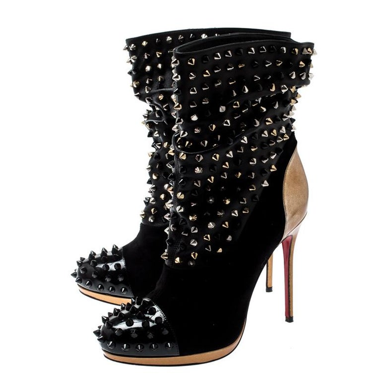 Women's Christian Louboutin Black Patent Leather And Spike Wars Ankle Boots Size 37.5