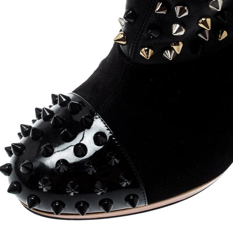 Christian Louboutin Black Patent Leather And Spike Wars Ankle Boots Size 37.5 2