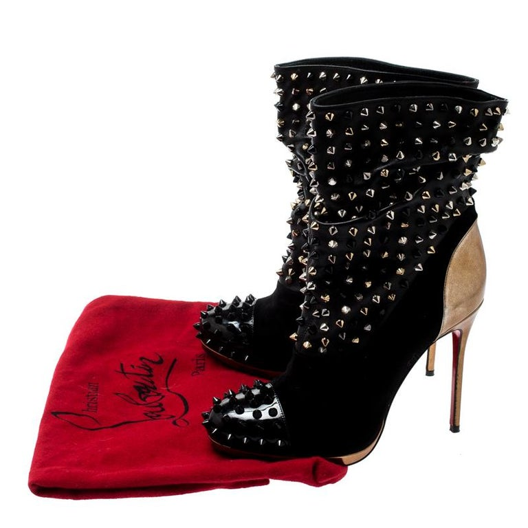 Christian Louboutin Black Patent Leather And Spike Wars Ankle Boots Size 37.5 4