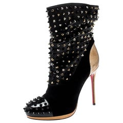 Christian Louboutin Black Patent Leather And Spike Wars Ankle Boots Size 37.5