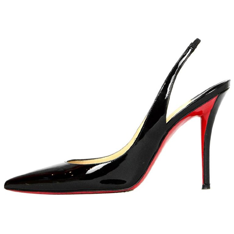 quality design e5794 60414 Christian Louboutin Black Patent Leather Apostrophy 100 Slingbacks sz 40