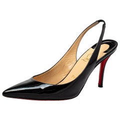 Christian Louboutin Black Patent Leather Clare Slingback Pumps Size 38