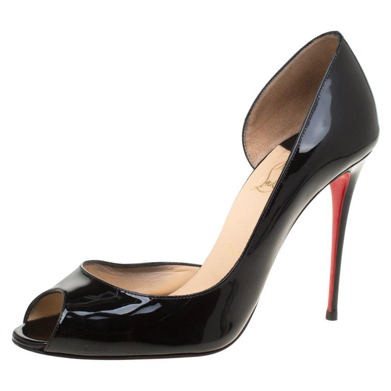 low priced 833b0 fc6ea Christian Louboutin Black Patent Leather Demi You Peep Toe D'orsay Pumps  Size 40